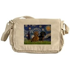 Starry Night Doxie Pair Messenger Bag