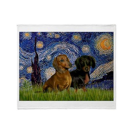 Starry Night Doxie Pair Throw Blanket