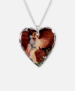 Angel / Dalmatian #1 Necklace Heart Charm