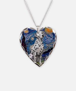 Starry / Dalmatian #1 Necklace Heart Charm