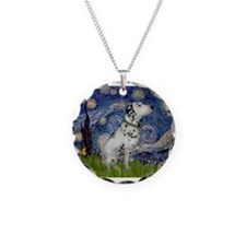 Starry Night / Dalmation Necklace Circle Charm