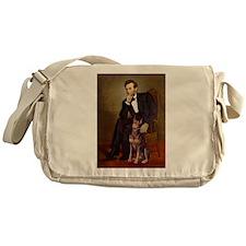 Lincoln's Red Doberman Messenger Bag