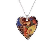 Mandolin Angel & Dobie Necklace Heart Charm