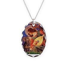Mandolin Angel & Dobie Necklace Oval Charm