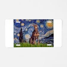 Starry / Red Doberman Aluminum License Plate