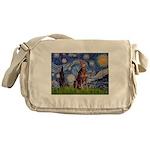 Starry / Red Doberman Messenger Bag