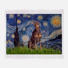 Starry / Red Doberman Throw Blanket