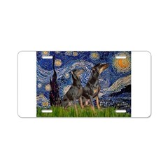 Starry Night / 2 Dobies Aluminum License Plate