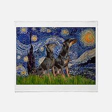 Starry Night / 2 Dobies Throw Blanket