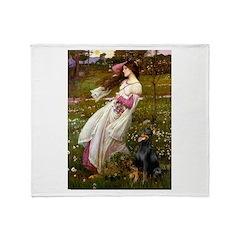 Windflowers / Doberman Throw Blanket