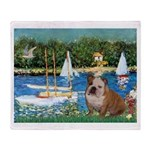 Sailboats /English Bulldog Throw Blanket