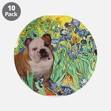 "Irises / 2 English Bulldogs 3.5"" Button (10 pack)"