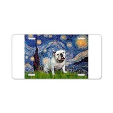 Starry Night English Bulldog Aluminum License Plat