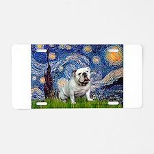 Starry Night English Bulldog Aluminum License Plat