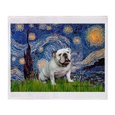 Starry Night English Bulldog Throw Blanket