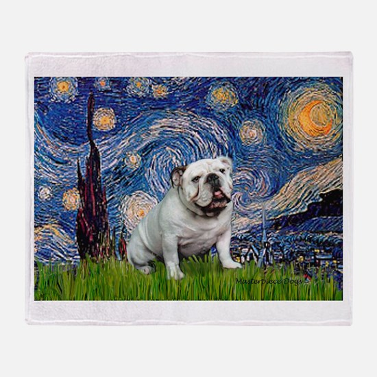 Starry Night English Bulldog Throw Blanket
