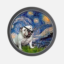 Starry Night English Bulldog Wall Clock
