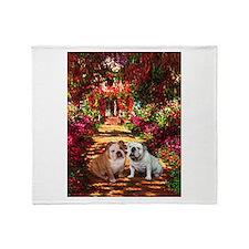 The Path / Two English Bulldogs Throw Blanket