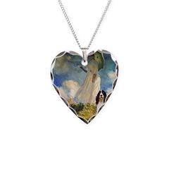 Umbrella / Eng Spring Necklace Heart Charm