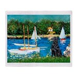Sailboats / Flat Coated Retri Throw Blanket