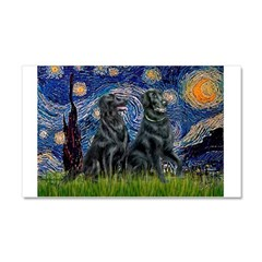 Starry / Two Flat Coated Ret Car Magnet 20 x 12