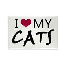 'I Love My Cats' Rectangle Magnet