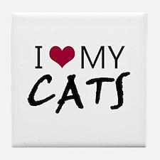 'I Love My Cats' Tile Coaster
