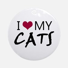 'I Love My Cats' Ornament (Round)