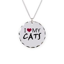 'I Love My Cats' Necklace Circle Charm