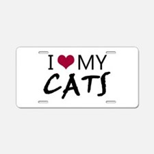 'I Love My Cats' Aluminum License Plate