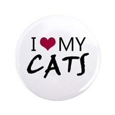 """'I Love My Cats' 3.5"""" Button"""