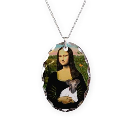 Mona & Fox Terrier Necklace Oval Charm