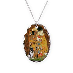 Kiss / Fox Terrier Necklace Oval Charm