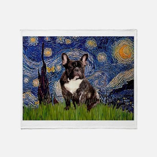 Starry / Fr Bulldog(brin) Throw Blanket