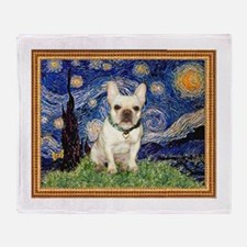 Starry/French Bulldog Throw Blanket