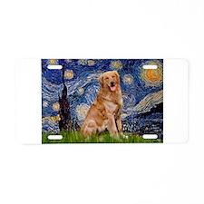 Starry Night Golden Aluminum License Plate