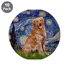 "Starry Night Golden 3.5"" Button (10 pack)"
