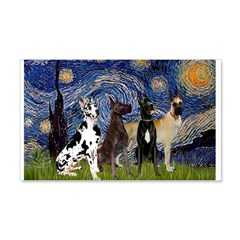 Starry / 4 Great Danes Wall Decal