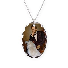 Lincoln / Great Pyrenees Necklace Oval Charm