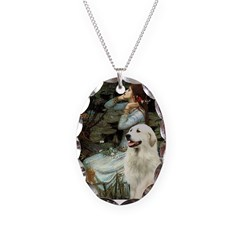 Ophelia / Gr Pyrenees Necklace Oval Charm