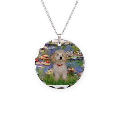Lilies / Havanese Necklace Circle Charm