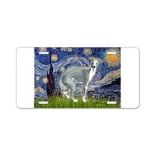 Starry Night/Italian Greyhoun Aluminum License Pla