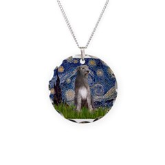 Starry/Irish Wolfhound Necklace Circle Charm