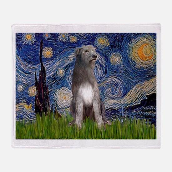 Starry/Irish Wolfhound Throw Blanket
