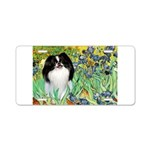 Irises/Japanese Chin Aluminum License Plate