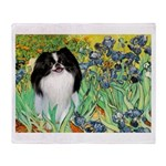 Irises/Japanese Chin Throw Blanket