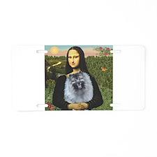 Mona Lisa / Keeshond (F) Aluminum License Plate