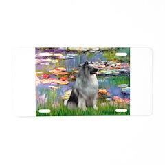 Lilies / Keeshond Aluminum License Plate