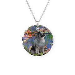 Lilies / Keeshond Necklace Circle Charm