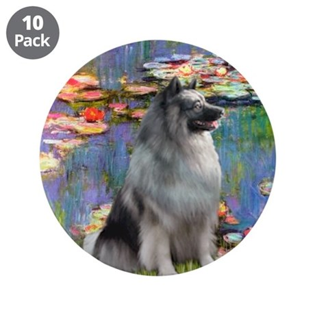 """Lilies / Keeshond 3.5"""" Button (10 pack)"""